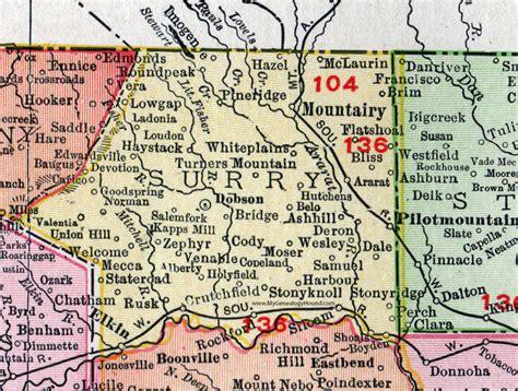 surry county carolina 1911 map rand mcnally