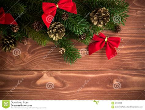 soft board decoration for christmas fir tree with decoration on wooden board soft fo stock photo image 61342283