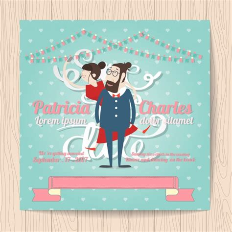 Wedding Invitations Characters by Wedding Invitation With Characters And Ribbon Vector