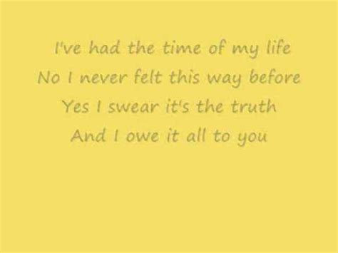 dirty dancing time of my life lyrics dirty dancing time of my life lyrics