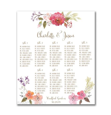 wedding table seating wedding table seating chart printable 50 130 guests