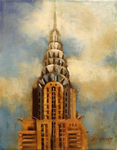 building painting chrysler building new york city art deco architecture 14