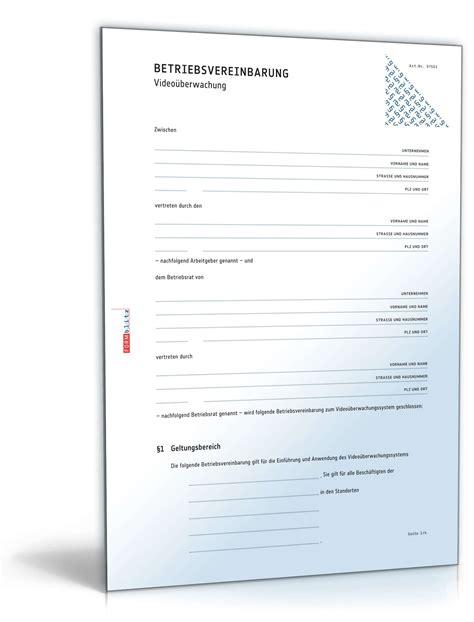 Musterbrief Nebenkostenabrechnung Betriebsvereinbarung 252 Berwachung Vorlage Zum