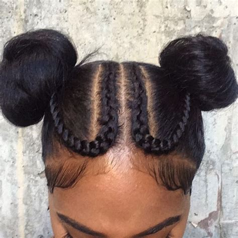 Hairstyle With Two Corn Row With Bun To The Side | braided hairstyle ideas inspiration for black women