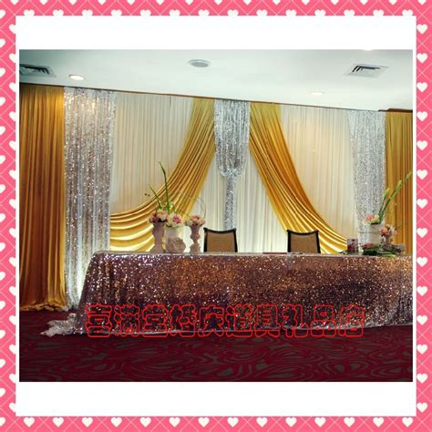 romantic golden ice silk wedding backdrops for wedding