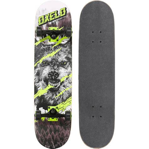 mid 5 wolf skateboard green oxelo