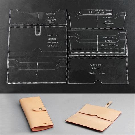 leather templates free wuta acrylic wallet template set leathercraft pattern