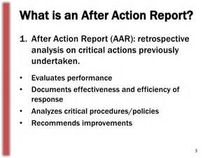 the importance of after action reports