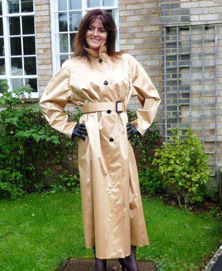 Jo In Raincoat S Intl gold rubberised satin mackintosh by hamilton classics worn
