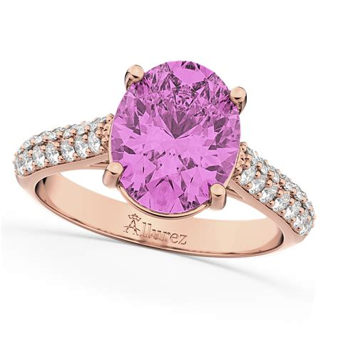 Engagement Rings Pink Sapphire by Oval Pink Sapphire Engagement Ring 14k Gold