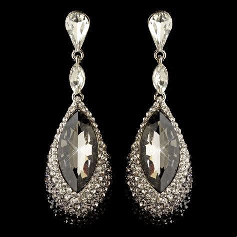 rhinestone earrings silver black smoke teardrop rhinestone dangle earrings 4105