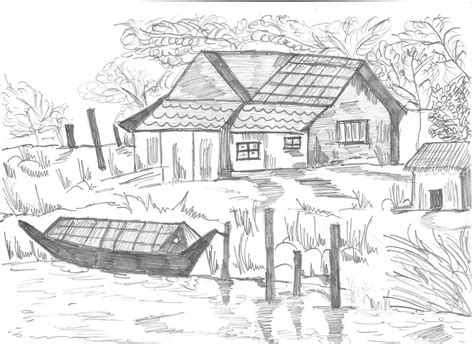pencil drawing themes for competition draw village pencil how to draw a village scene drawingnow