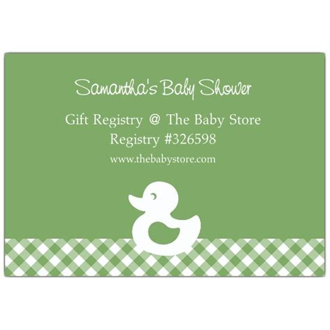 plaid duck baby shower registry cards paperstyle