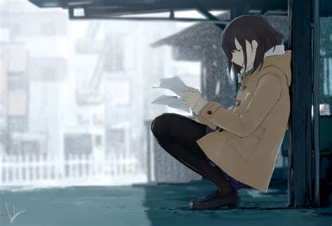 wallpaper anime girl lonely profile view coat