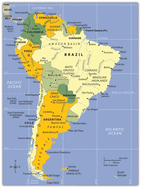 physical features map of south america south america