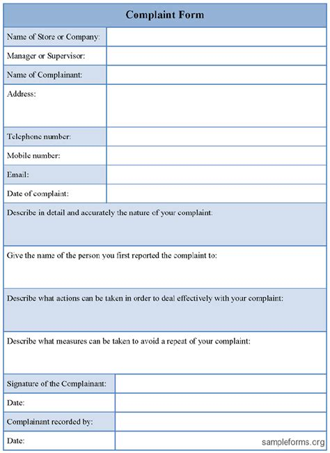 document form template doc 7501031 doc460595 complaint forms template customer