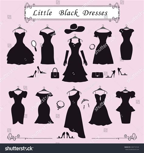 Id Silhouette Dress fashion dressdifferent styles black stock vector 300710144
