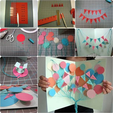 Diy Creative Happy  Ee  Birthday Ee   Banner And Balloon Card