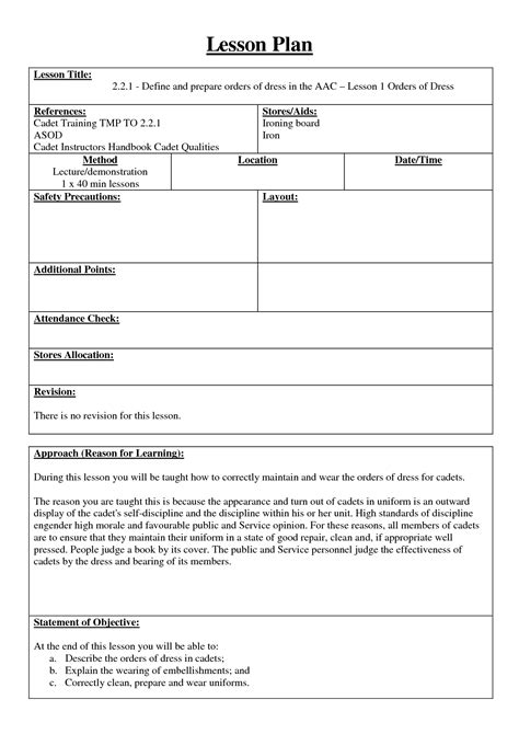 army lesson plan template army lesson plan template image collections templates