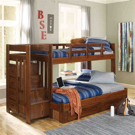 woodcrest heartland twin  full bunk bed  stairs