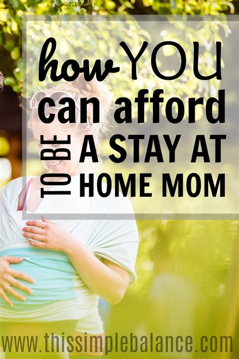 how you can afford to be a stay at home this simple