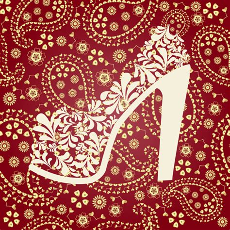 paisley pattern vector free download floral shoes with paisley pattern vector 02 vector