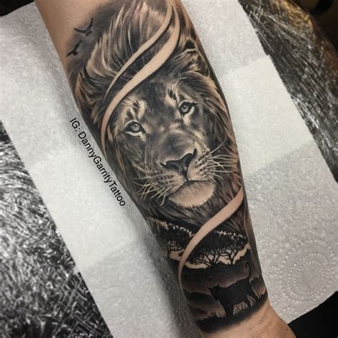 lion forearm tattoos s forearm sleeve with silhouette in