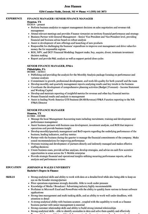 senior finance manager resume format senior finance manager resume sles velvet