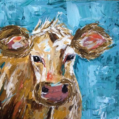 colorful cow painting abstract cow painted with a pallet knife colorful cows