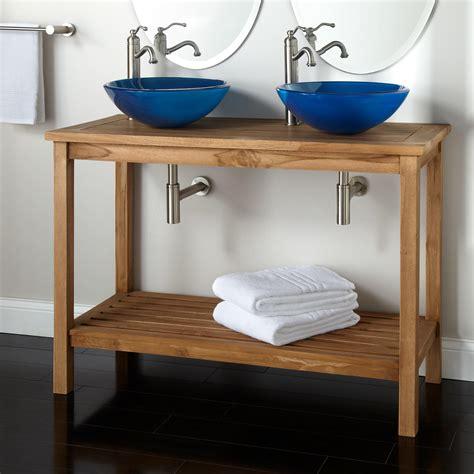 2 Sink Vanity 48 Quot Emzen Teak Vessel Sink Console Vanity Bathroom