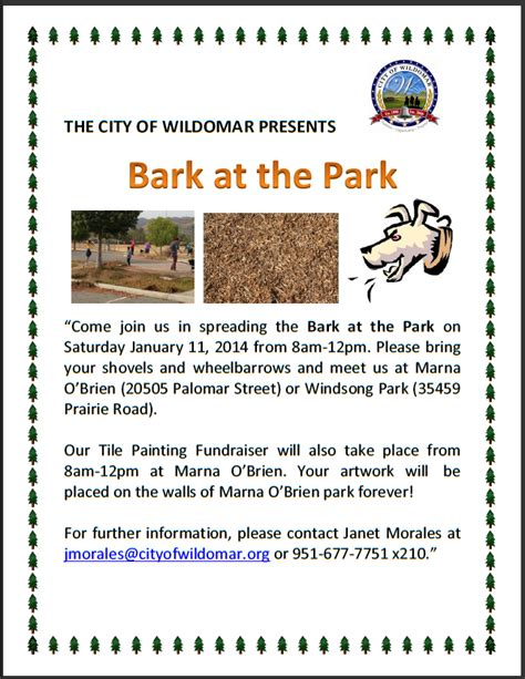 wildomar rap community volunteer event bark at the park