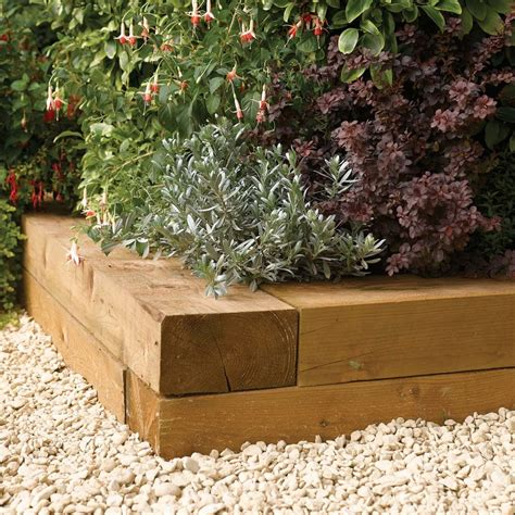 Wooden Sleepers Garden Edging by 1 8m Timber Garden Planting Blocks Pack Of 2 Westmount Living