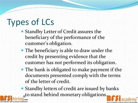 Non Financial Standby Letter Of Credit Trade Finance Letter Of Credit