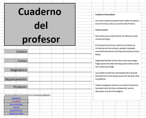 cuaderno de notas del profesor profe tic cuaderno del profesor en excel descargar gratis
