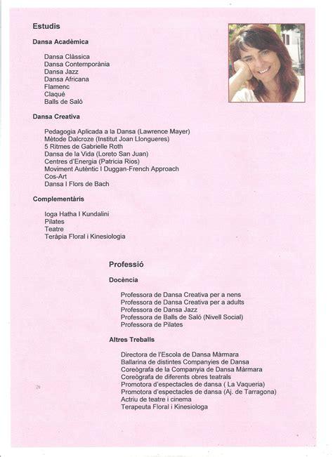 Modelo Curriculum Vitae Bailarina El Taller Centro De Danza Maribel Soler