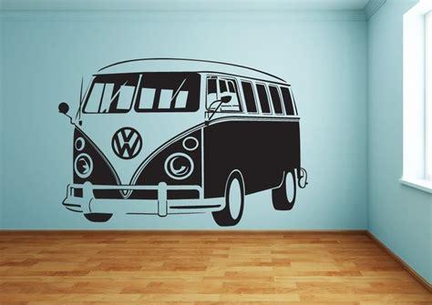 volkswagen van art a classic vw cervan wall art sticker hippie van stuff