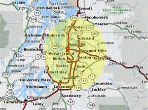 Seattle Area Map by Map Of Seattle And Surrounding Area For Pinterest