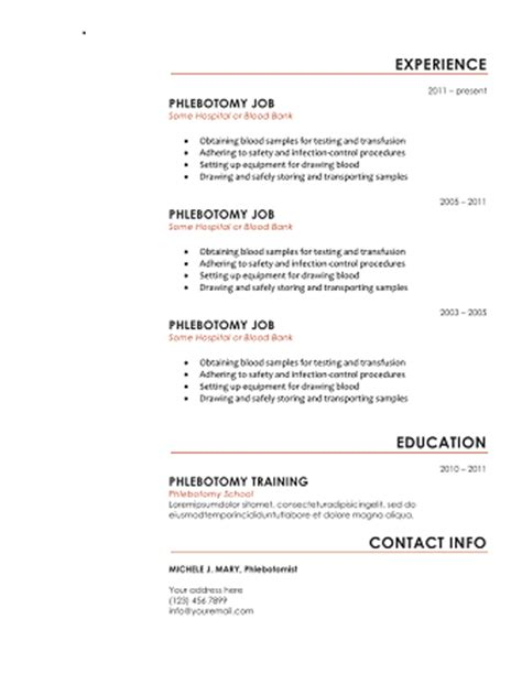 Download 10 Professional Phlebotomy Resumes Templates Free Phlebotomy Resume Templates