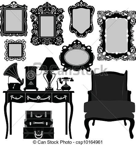 Dining Room Set Bench Clip Art Vector Of Antique Picture Frame A Set Of