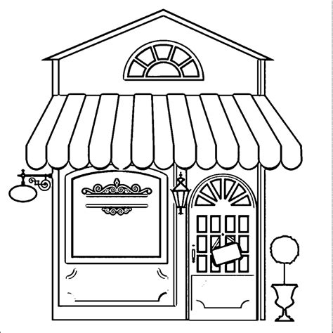 restaurant building coloring pages wecoloringpage coloring