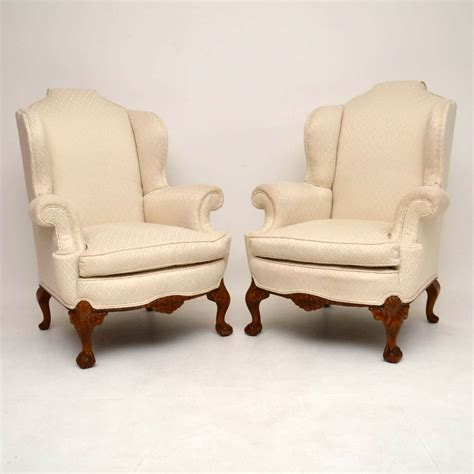 armchairs ebay pair of antique queen anne style wing back armchairs ebay