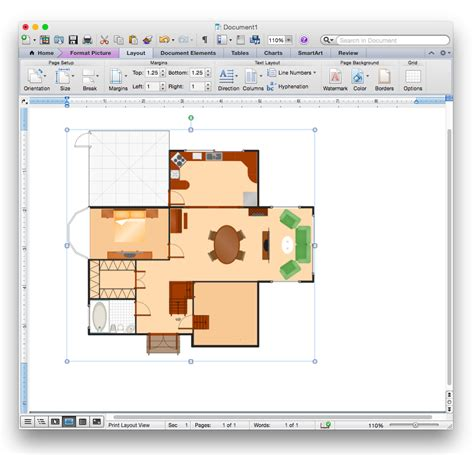 how to draw floor plan add a floor plan to a ms word document conceptdraw helpdesk
