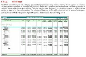 e payroll sheet report in tally9 accounting software