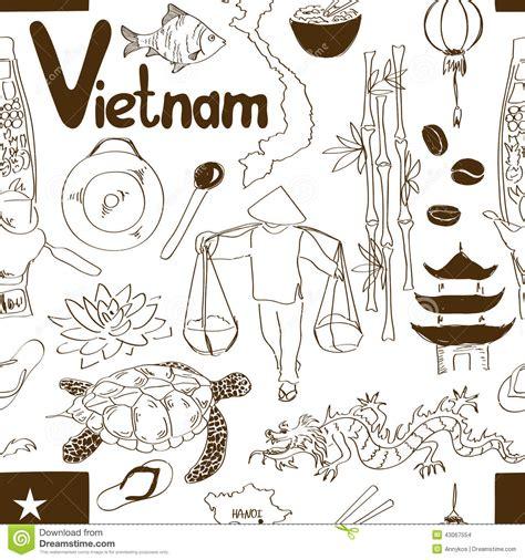 doodle viet nam sketch seamless pattern stock vector