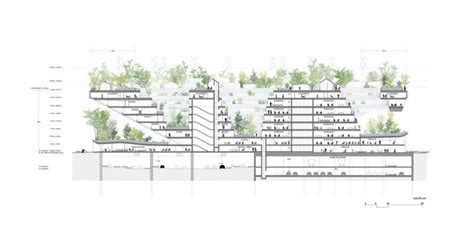 roof garden detail section this reverse pyramid is a green urban community in the