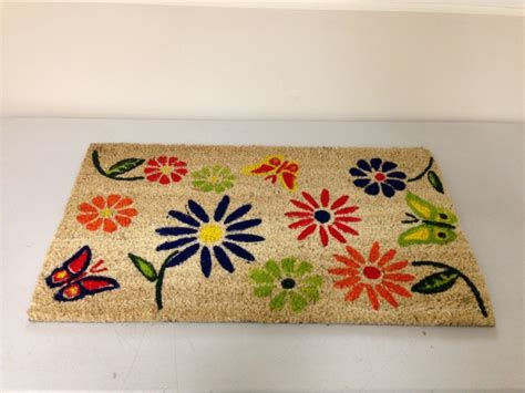Flower Doormat - butterfly flower coir door mat pvc back colourful design