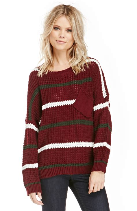 knit varsity sweater pattern striped knit varsity sweater in burgundy dailylook