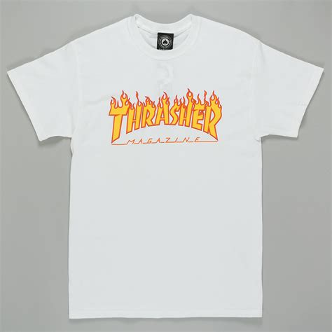 Thrasher White thrasher magazine logo t shirt white available at skate pharmacy
