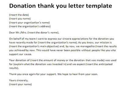 thank you letter to a wonderful brilliant ideas of donation thank you letter template