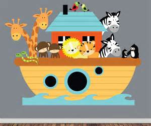 Peel And Stick Removable Wallpaper by Reusable Noahs Ark Wall Decal Childrens Nursery By